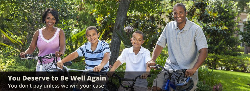 You deserve to be well again - You don't pay unless we win your case | Family riding bikes
